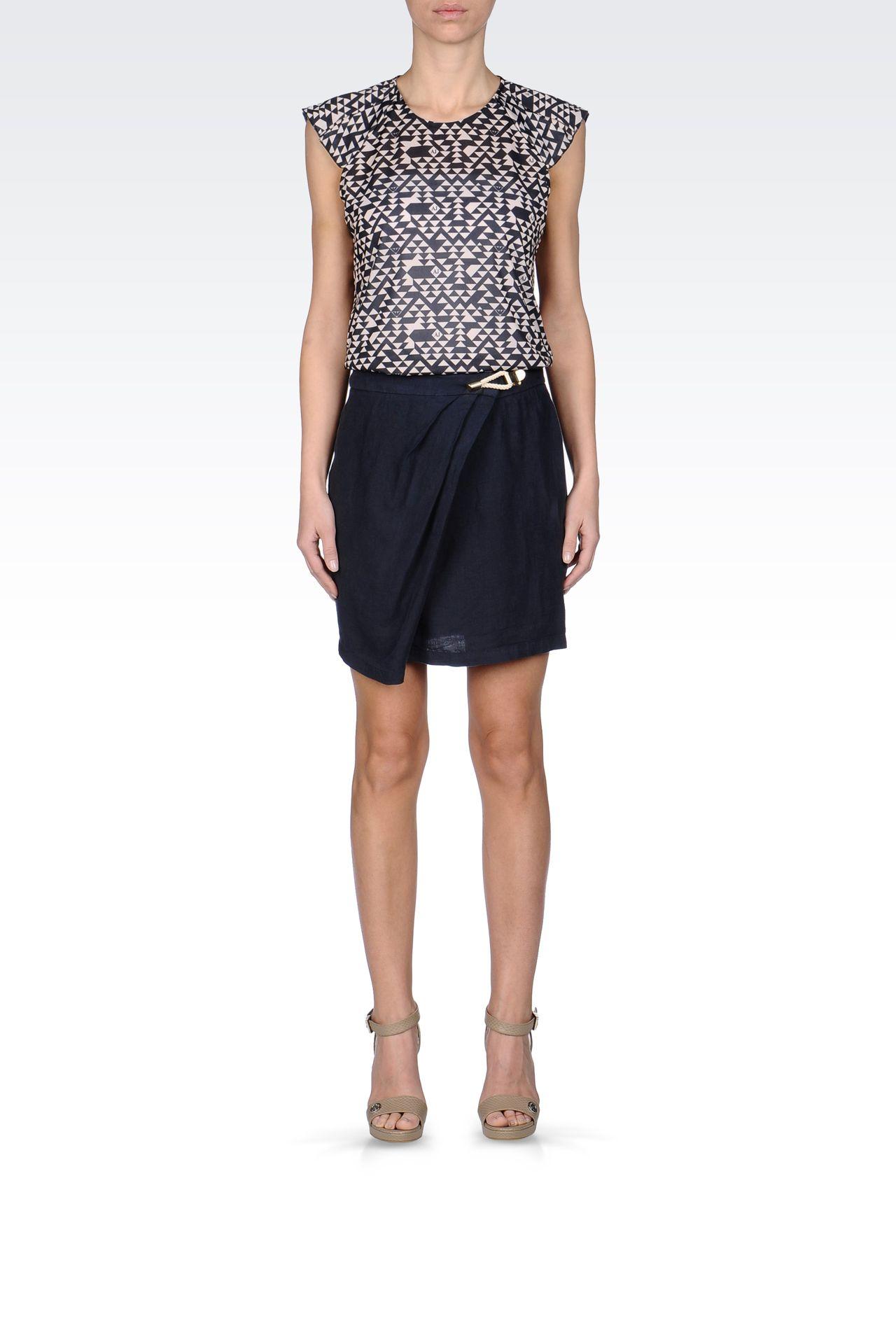 WRAPAROUND SKIRT IN LINEN: Mini skirts Women by Armani - 0