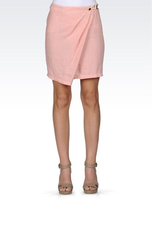 WRAPAROUND SKIRT IN LINEN: Mini skirts Women by Armani - 2