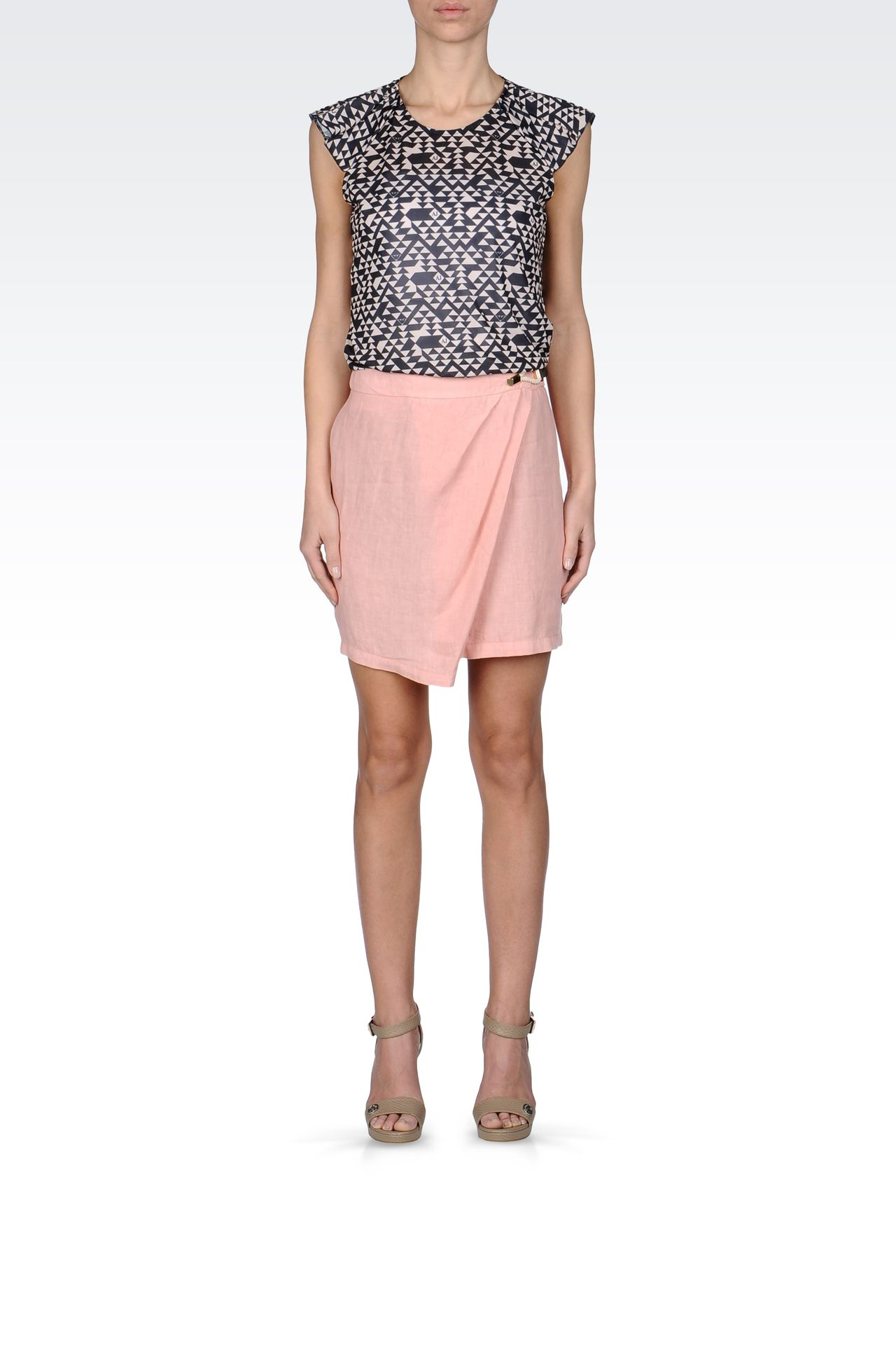 WRAPAROUND SKIRT IN LINEN: Mini skirts Women by Armani - 0