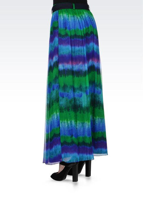MULTICOLORED SILK LONG SKIRT: 3/4 length skirts Women by Armani - 3