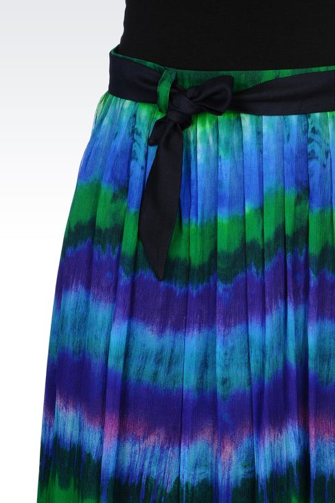 MULTICOLORED SILK LONG SKIRT: 3/4 length skirts Women by Armani - 4