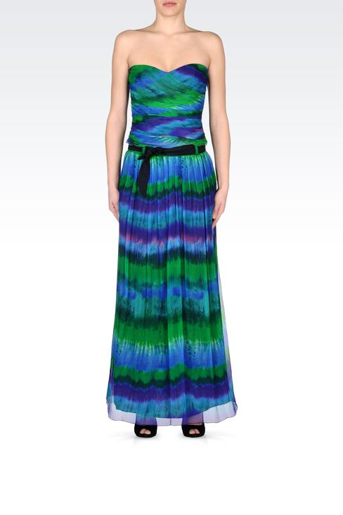 MULTICOLORED SILK LONG SKIRT: 3/4 length skirts Women by Armani - 1