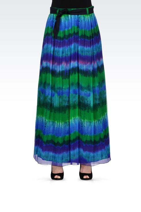 MULTICOLORED SILK LONG SKIRT: 3/4 length skirts Women by Armani - 2