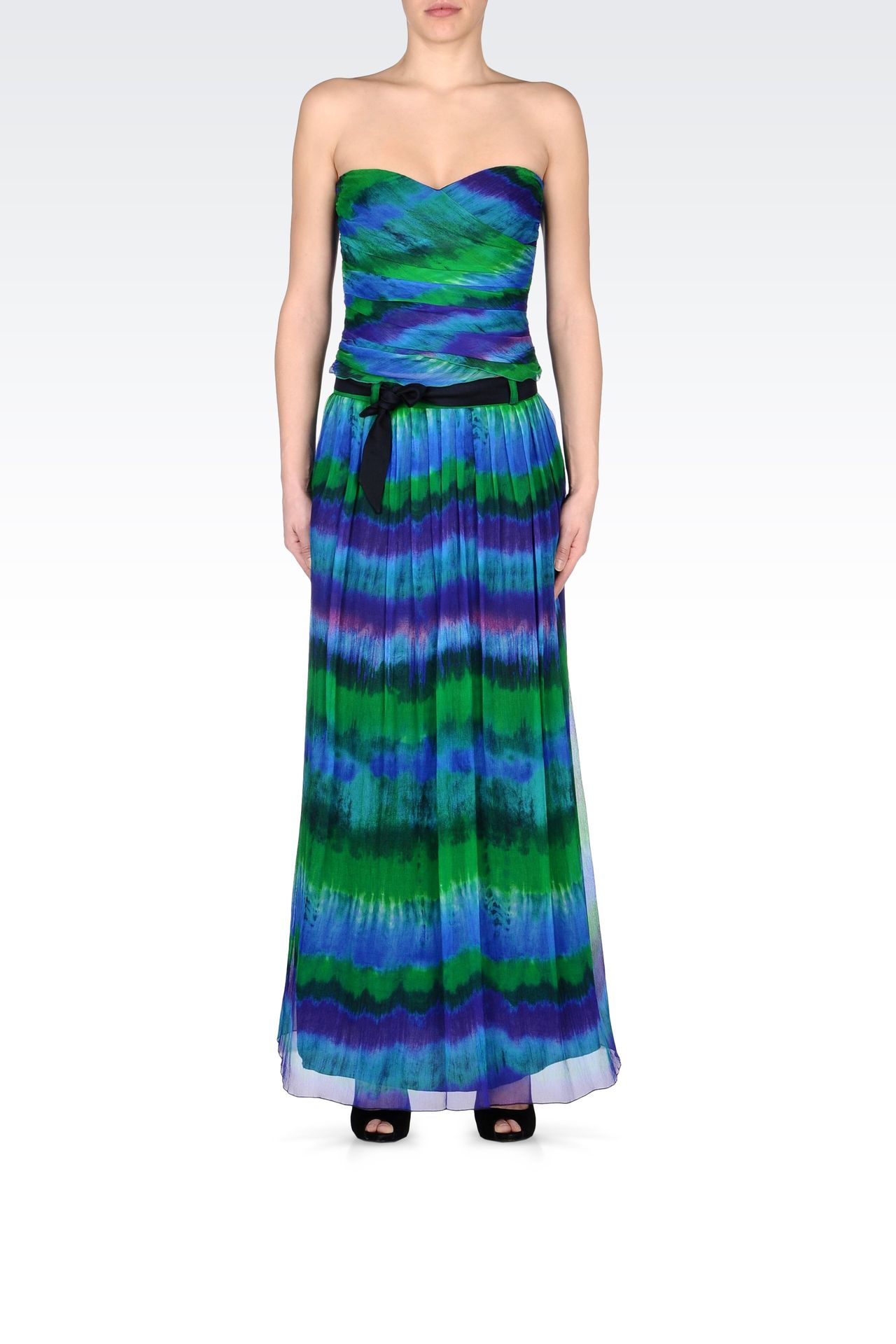MULTICOLORED SILK LONG SKIRT: 3/4 length skirts Women by Armani - 0