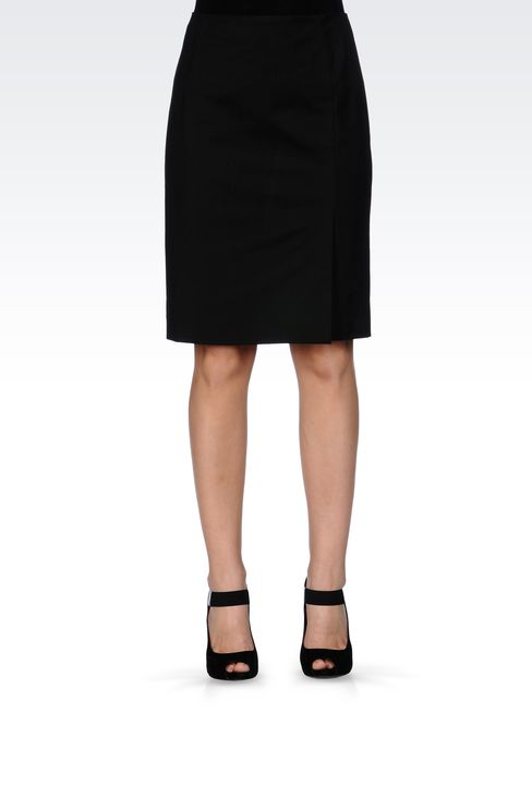 PENCIL SKIRT IN STRETCH COTTON: Knee length skirts Women by Armani - 2