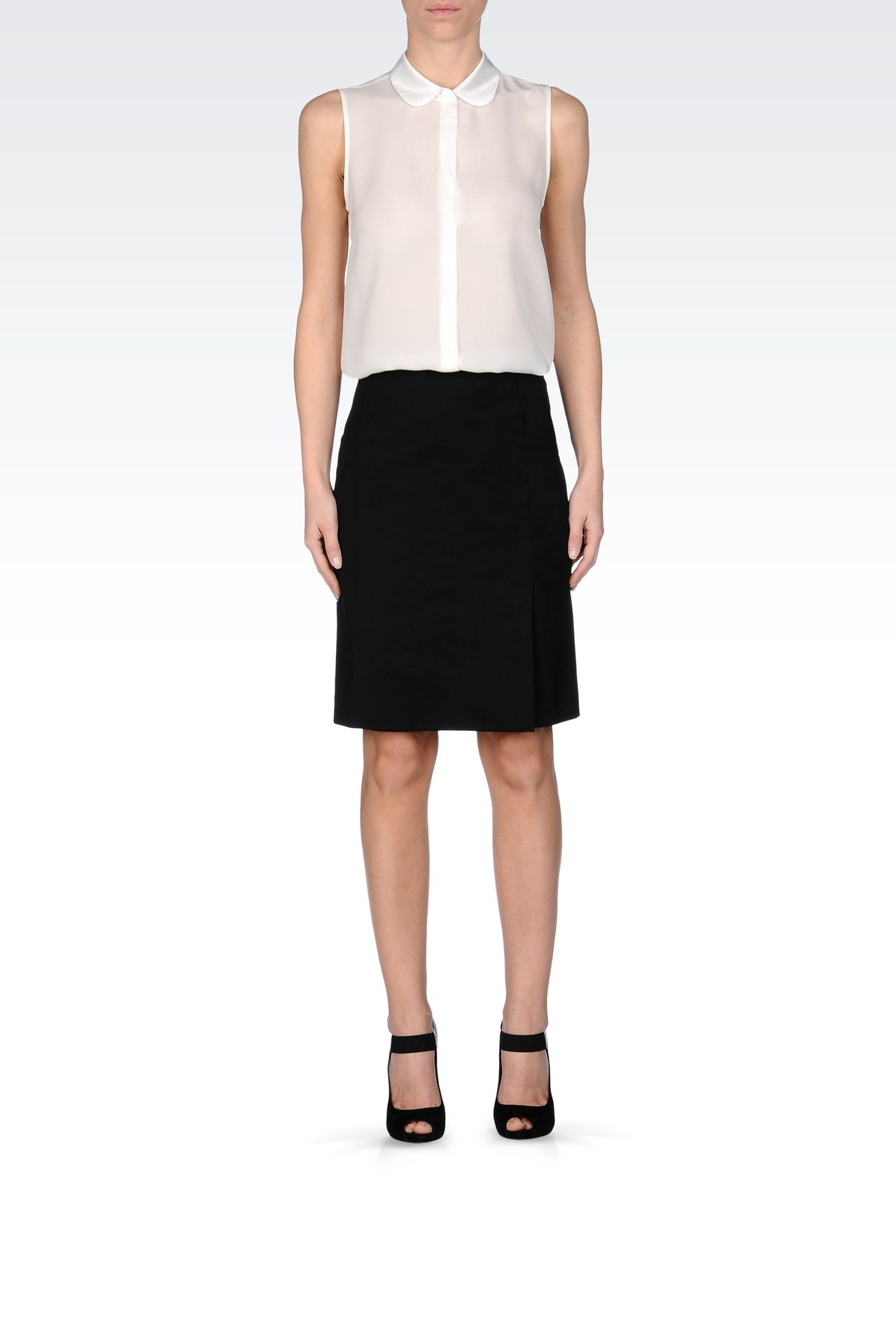 PENCIL SKIRT IN STRETCH COTTON: Knee length skirts Women by Armani - 0