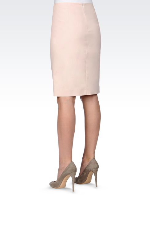 PENCIL SKIRT IN STRETCH COTTON: Knee length skirts Women by Armani - 3