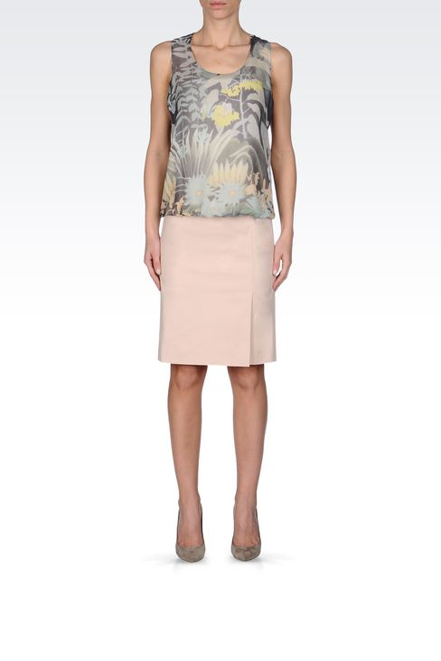 PENCIL SKIRT IN STRETCH COTTON: Knee length skirts Women by Armani - 1