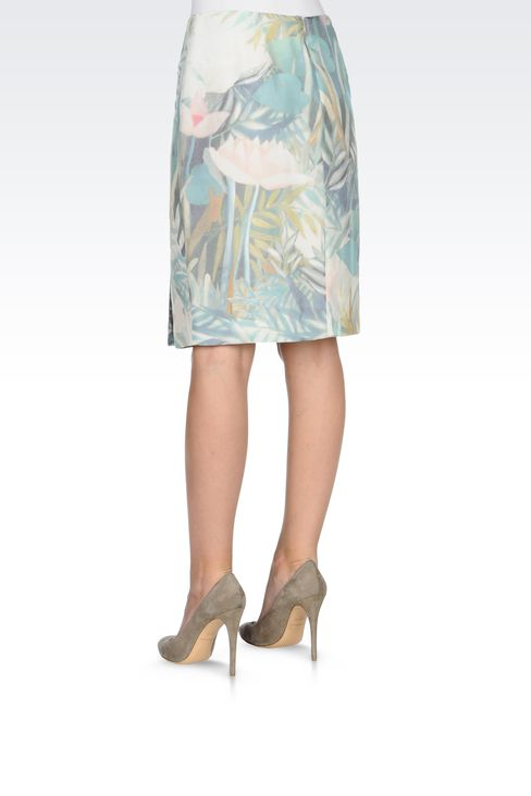 PENCIL SKIRT IN PRINTED SILK: Knee length skirts Women by Armani - 3