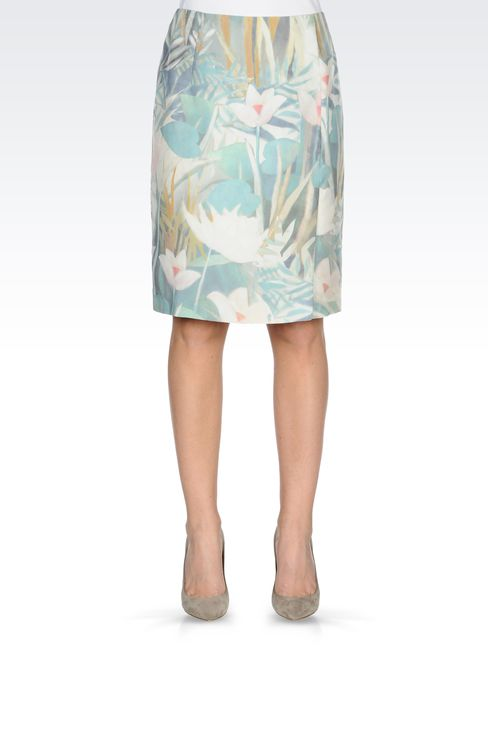 PENCIL SKIRT IN PRINTED SILK: Knee length skirts Women by Armani - 2