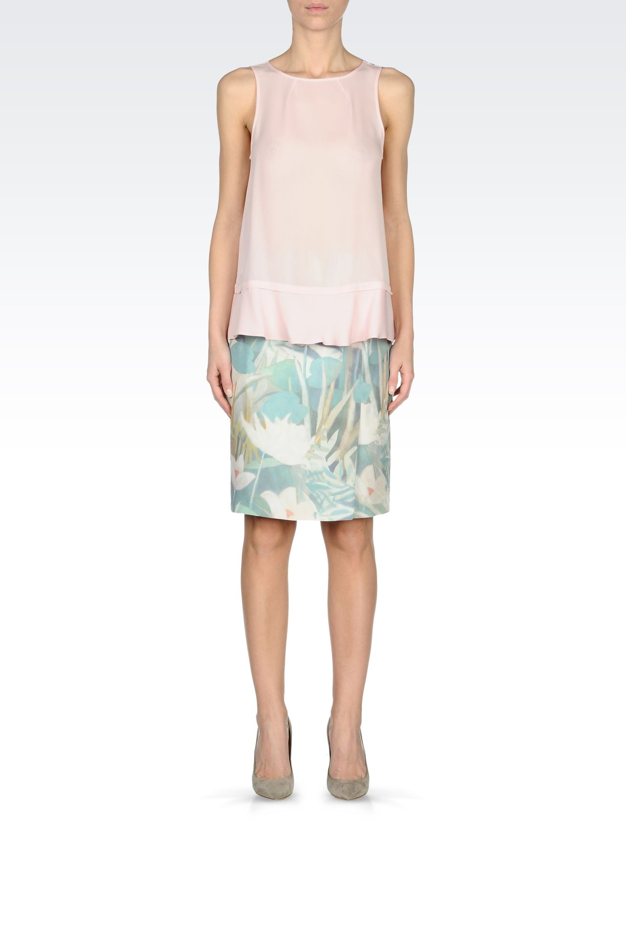 PENCIL SKIRT IN PRINTED SILK: Knee length skirts Women by Armani - 0