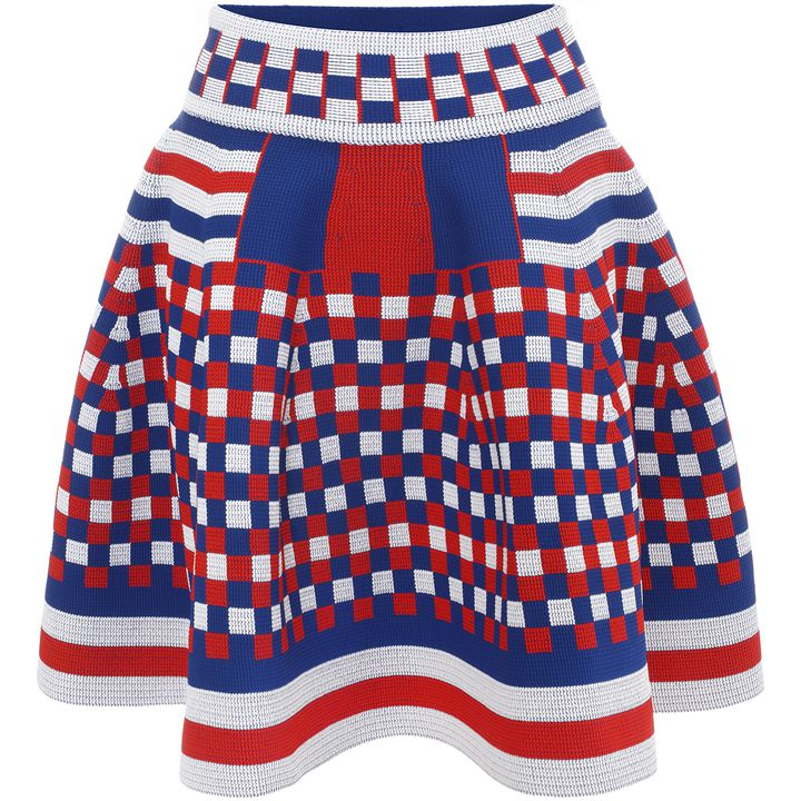 Alexander McQueen, Graphic Jacquard Knit Full Circle Skirt