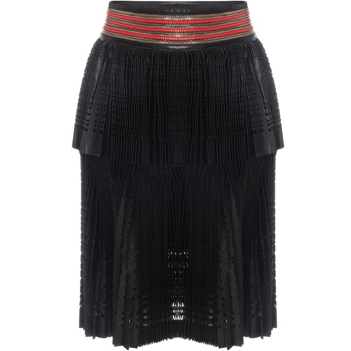 Alexander McQueen, Laser Cut Pleated Leather Skirt