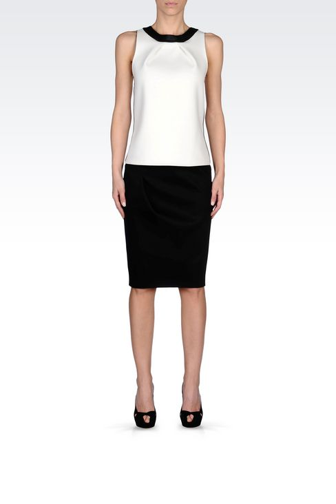 PENCIL SKIRT IN NEOPRENE: Knee length skirts Women by Armani - 2