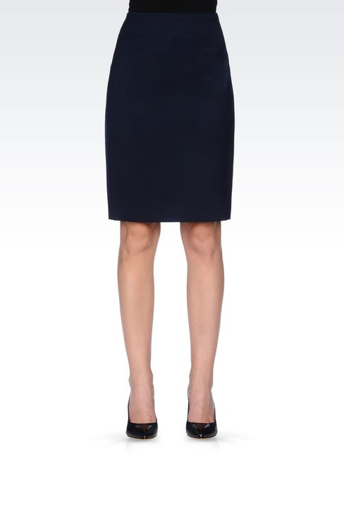 PENCIL SKIRT IN STRETCH WOOL: Knee length skirts Women by Armani - 3
