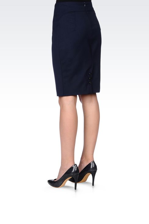 PENCIL SKIRT IN STRETCH WOOL: Knee length skirts Women by Armani - 4