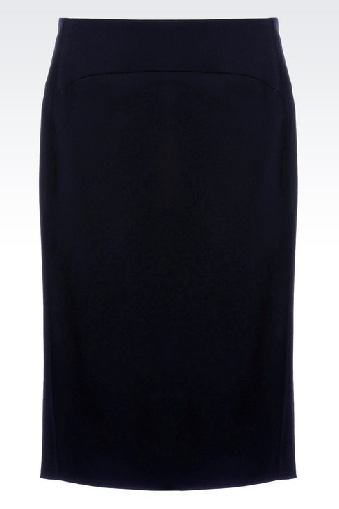 PENCIL SKIRT IN STRETCH WOOL: Knee length skirts Women by Armani - 1