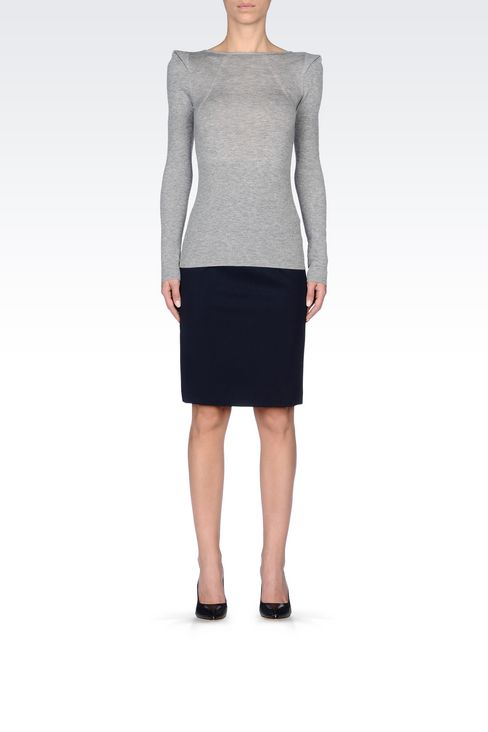 PENCIL SKIRT IN STRETCH WOOL: Knee length skirts Women by Armani - 2