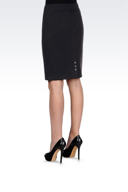 PENCIL SKIRT IN JERSEY: Knee length skirts Women by Armani - 4