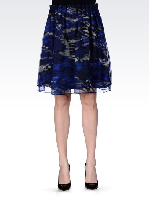 SKIRT IN PRINTED ORGANZA: Mini skirts Women by Armani - 3