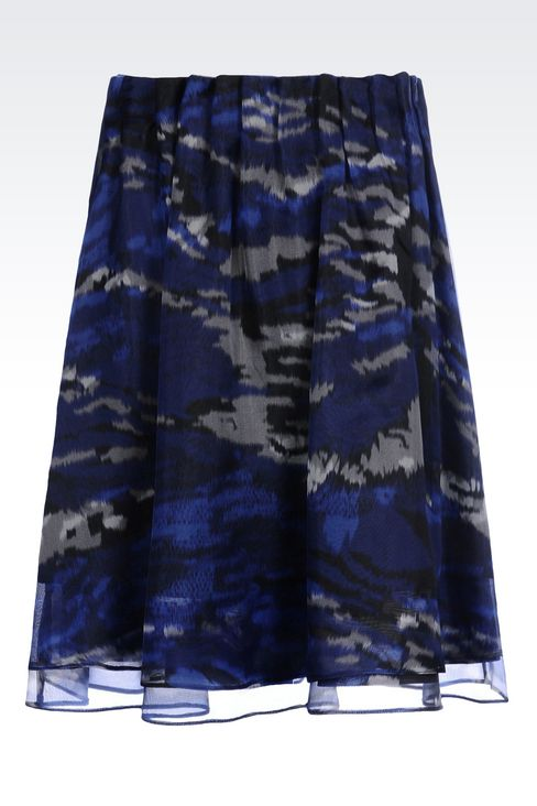 SKIRT IN PRINTED ORGANZA: Mini skirts Women by Armani - 1