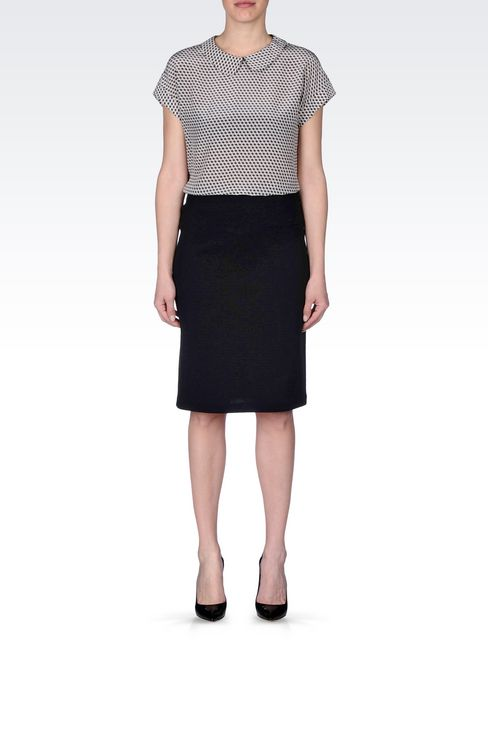 PENCIL SKIRT IN CRÊPE: Knee length skirts Women by Armani - 2