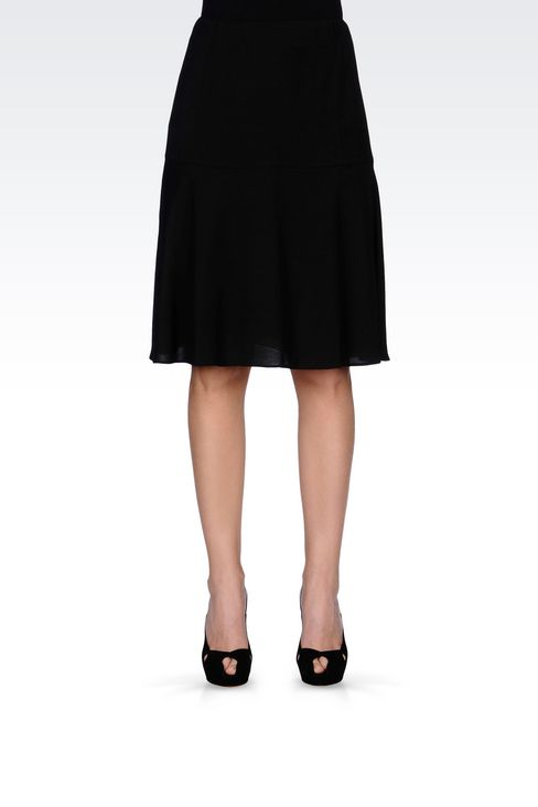 SKIRT IN WOOL AND VISCOSE CRÊPE: Knee length skirts Women by Armani - 3