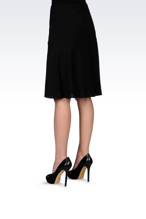 SKIRT IN WOOL AND VISCOSE CRÊPE: Knee length skirts Women by Armani - 4