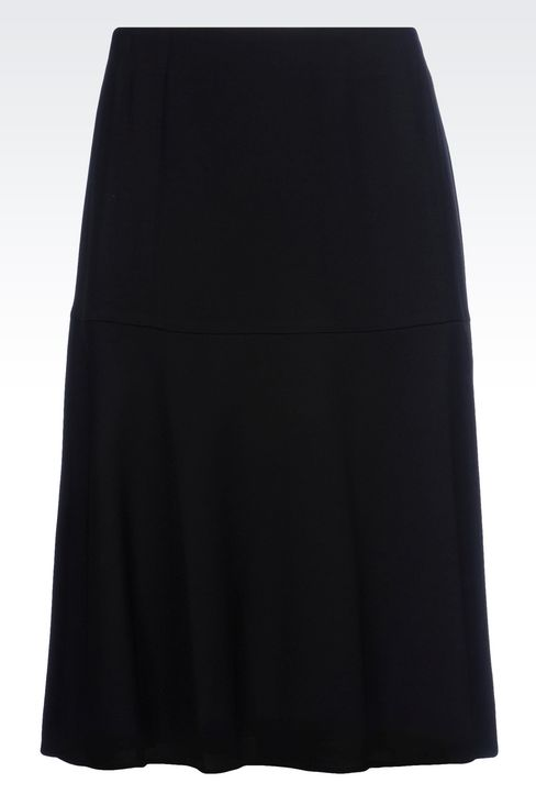 SKIRT IN WOOL AND VISCOSE CRÊPE: Knee length skirts Women by Armani - 1
