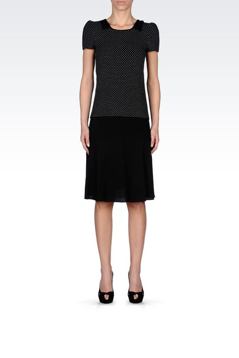SKIRT IN WOOL AND VISCOSE CRÊPE: Knee length skirts Women by Armani - 2