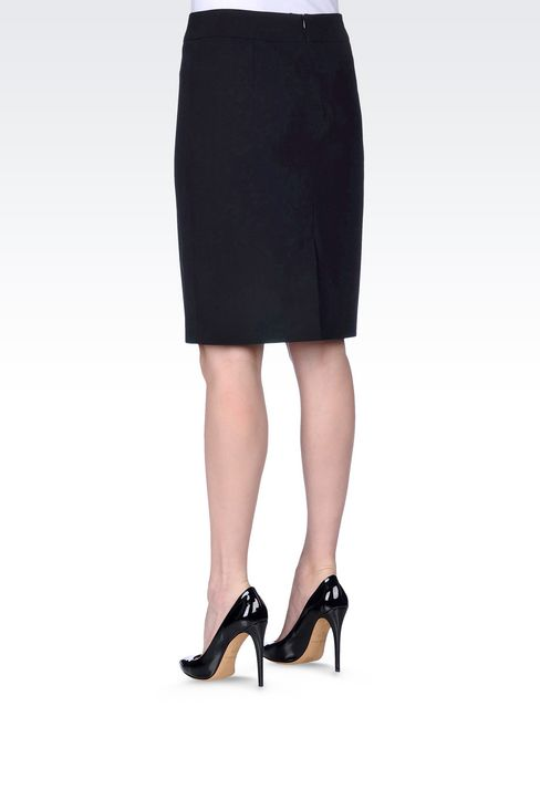 PENCIL SKIRT IN WOOL: Knee length skirts Women by Armani - 4