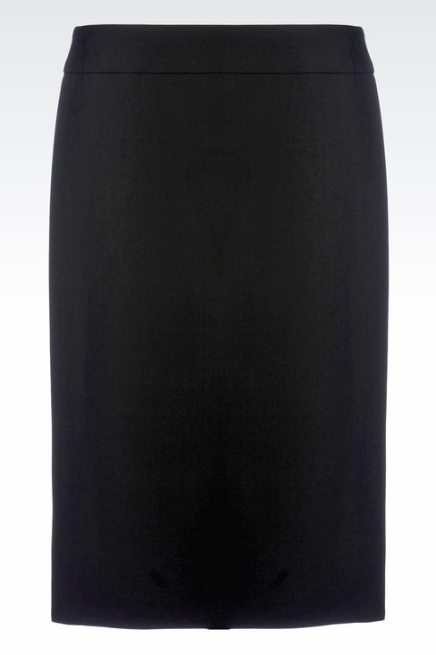 PENCIL SKIRT IN WOOL: Knee length skirts Women by Armani - 1