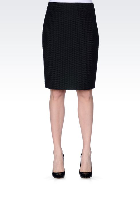PENCIL SKIRT IN QUILTED JACQUARD: Knee length skirts Women by Armani - 3