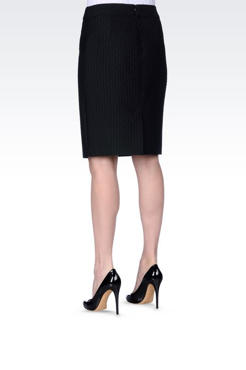 PENCIL SKIRT IN QUILTED JACQUARD: Knee length skirts Women by Armani - 4