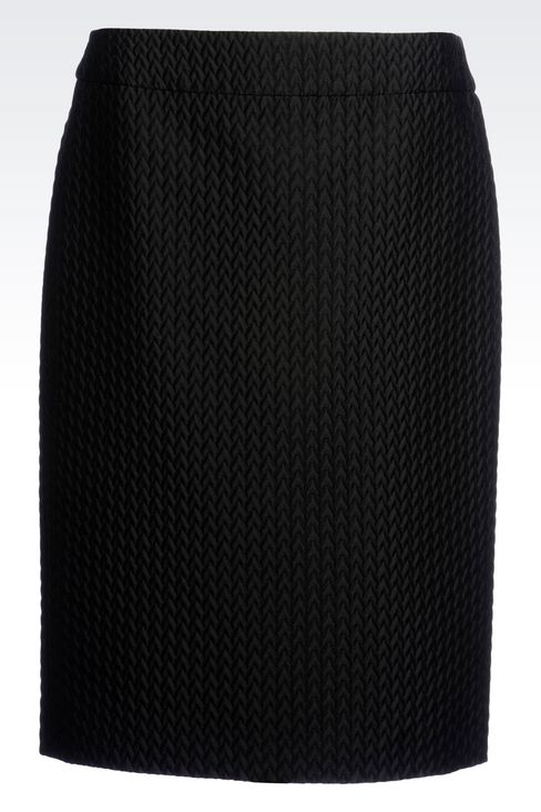 PENCIL SKIRT IN QUILTED JACQUARD: Knee length skirts Women by Armani - 1