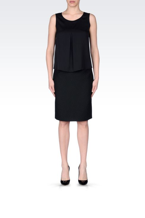 PENCIL SKIRT IN QUILTED JACQUARD: Knee length skirts Women by Armani - 2