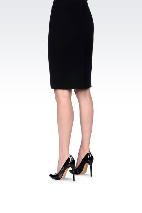 PENCIL SKIRT IN WOOL CRÊPE: Knee length skirts Women by Armani - 4