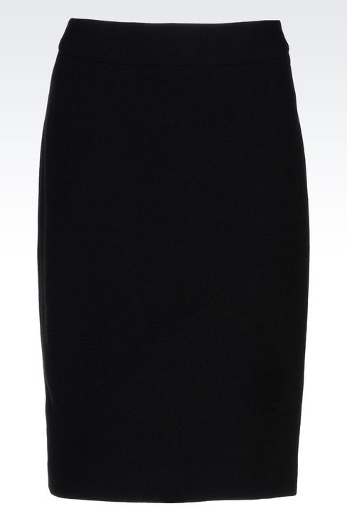 PENCIL SKIRT IN WOOL CRÊPE: Knee length skirts Women by Armani - 1