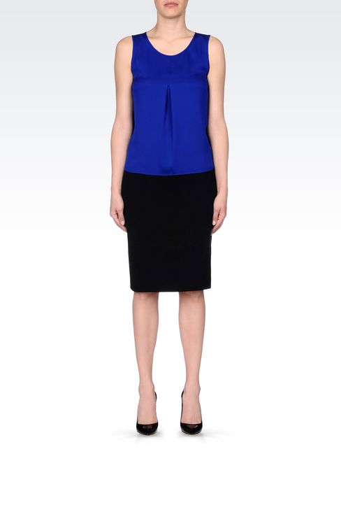 PENCIL SKIRT IN WOOL CRÊPE: Knee length skirts Women by Armani - 2
