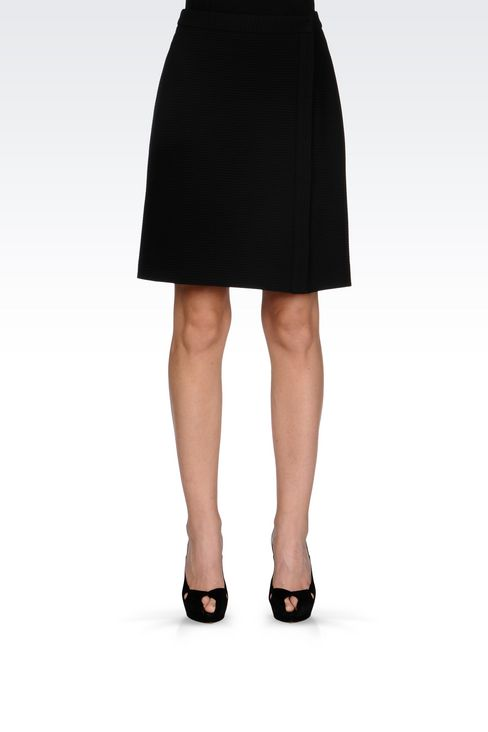 SKIRT IN TECHNICAL VISCOSE WITH SPLIT: Knee length skirts Women by Armani - 3