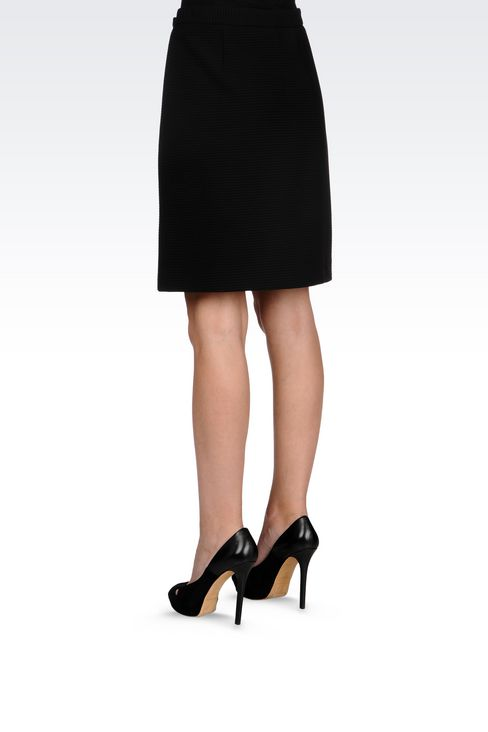 SKIRT IN TECHNICAL VISCOSE WITH SPLIT: Knee length skirts Women by Armani - 4