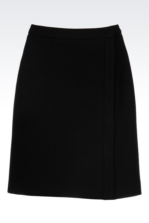 SKIRT IN TECHNICAL VISCOSE WITH SPLIT: Knee length skirts Women by Armani - 1