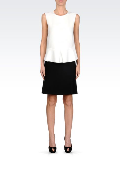 SKIRT IN TECHNICAL VISCOSE WITH SPLIT: Knee length skirts Women by Armani - 2