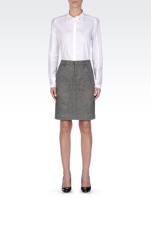 PENCIL SKIRT IN WOOL: Knee length skirts Women by Armani - 2