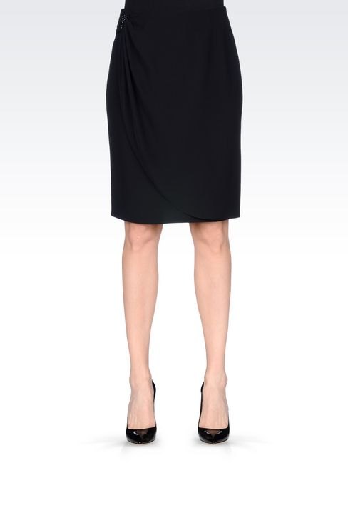 WRAPAROUND SKIRT IN CADY: Knee length skirts Women by Armani - 3