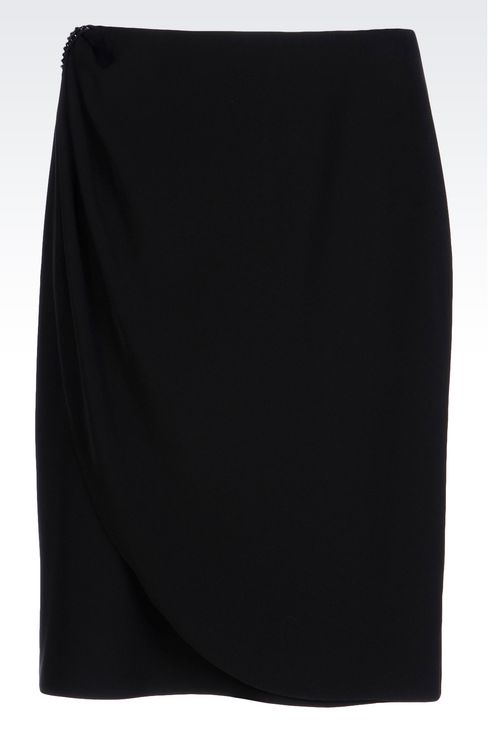 WRAPAROUND SKIRT IN CADY: Knee length skirts Women by Armani - 1
