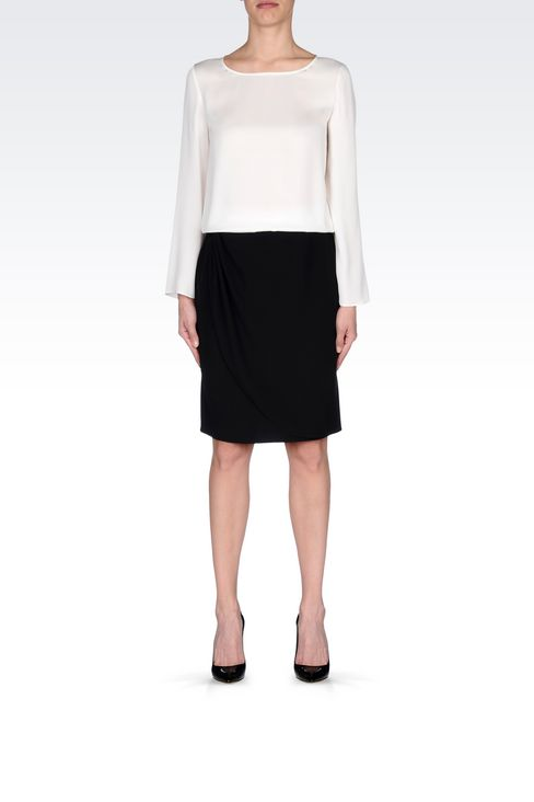 WRAPAROUND SKIRT IN CADY: Knee length skirts Women by Armani - 2