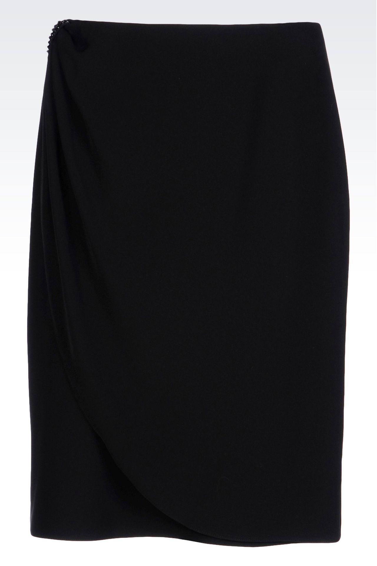 WRAPAROUND SKIRT IN CADY: Knee length skirts Women by Armani - 0