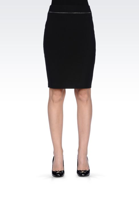 PENCIL SKIRT IN TECHNICAL VISCOSE: Knee length skirts Women by Armani - 3
