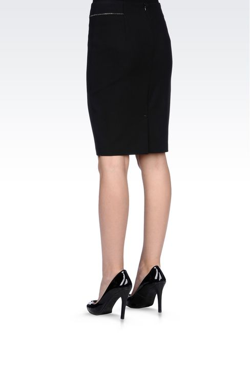 PENCIL SKIRT IN TECHNICAL VISCOSE: Knee length skirts Women by Armani - 4